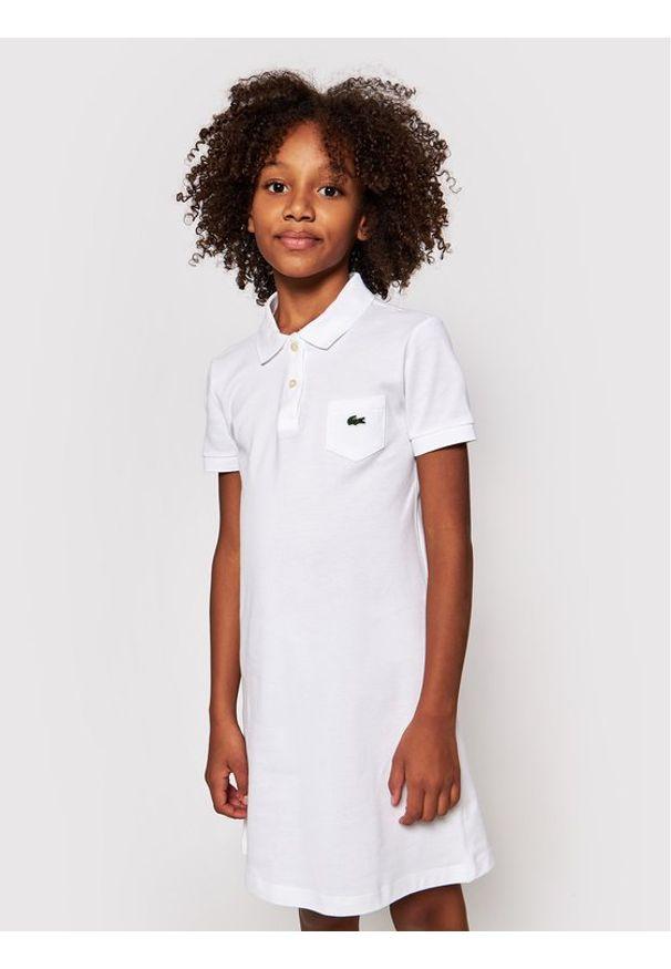 Lacoste Sukienka codzienna EJ2816 Biały Regular Fit. Okazja: na co dzień. Kolor: biały. Typ sukienki: proste. Styl: casual