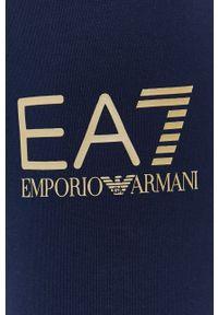 EA7 Emporio Armani - Legginsy. Kolor: niebieski. Materiał: dzianina. Wzór: nadruk