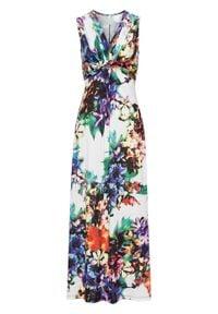 Sukienka letnia bonprix biały w kwiaty. Kolor: biały. Wzór: kwiaty. Sezon: lato
