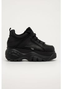 Czarne sneakersy Buffalo na obcasie, na sznurówki #5