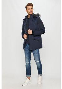 Niebieska kurtka Guess Jeans z kapturem, na co dzień, casualowa