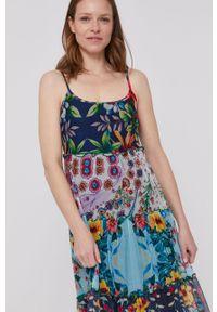 Wielokolorowa sukienka Desigual na ramiączkach, rozkloszowana, maxi