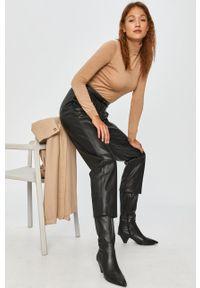 Czarne spodnie materiałowe Answear Lab wakacyjne, z podwyższonym stanem