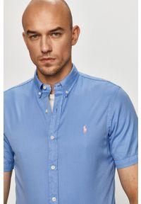 Polo Ralph Lauren - Koszula bawełniana. Typ kołnierza: polo. Kolor: niebieski. Materiał: bawełna. Długość rękawa: krótki rękaw. Długość: krótkie