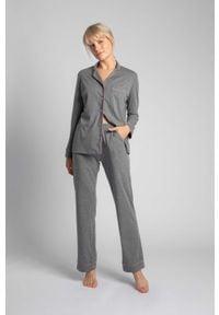 MOE - Długie Spodnie Piżamowe z Lamówkami - Szare. Kolor: szary. Materiał: bawełna. Długość: długie
