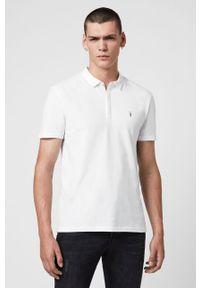 Biała koszulka polo AllSaints casualowa, na co dzień, krótka