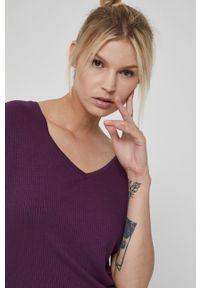 medicine - Medicine - Sukienka Essential. Kolor: fioletowy. Materiał: materiał. Długość rękawa: krótki rękaw. Typ sukienki: dopasowane
