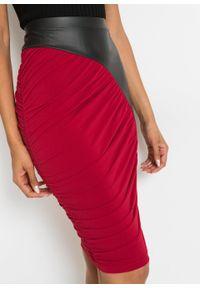 Spódnica ołówkowa z różnych materiałów bonprix czerwony chili-czarny. Kolor: czerwony. Materiał: materiał