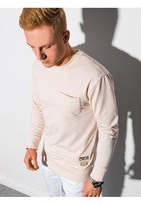 Ombre Clothing - Bluza męska bez kaptura B1149 - ecru - XXL. Typ kołnierza: bez kaptura. Materiał: poliester, jeans, materiał, bawełna. Wzór: melanż
