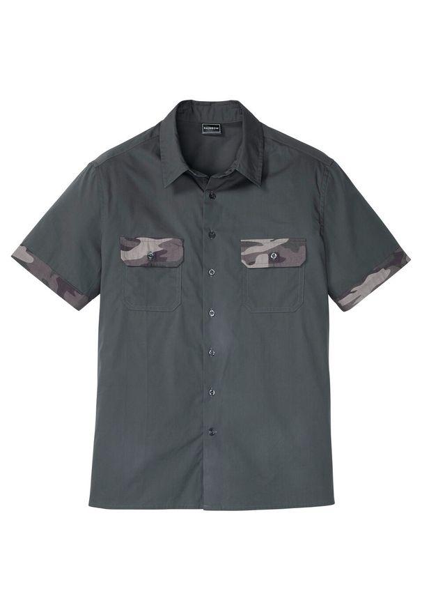 Koszula z krótkim rękawem z wstawkami w deseń moro, Slim Fit bonprix antracytowy z nadrukiem. Kolor: szary. Długość rękawa: krótki rękaw. Długość: krótkie. Wzór: nadruk, moro