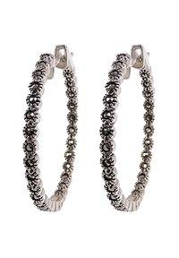 Braccatta - ANGELA Kolczyki srebrne koła średnie markazyty. Materiał: srebrne. Kolor: srebrny. Wzór: gładki, aplikacja. Kamień szlachetny: markazyt