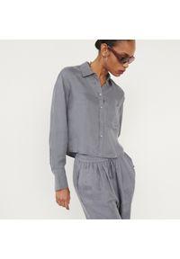 Reserved - Koszula z cupro i wiskozy - Szary. Kolor: szary. Materiał: wiskoza