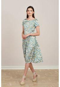 Marie Zélie - Sukienka Melania Asteres. Materiał: wiskoza, skóra, materiał. Długość rękawa: krótki rękaw. Wzór: kolorowy. Sezon: lato