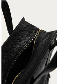 Czarna shopperka Answear Lab duża, gładkie, skórzana, wakacyjna