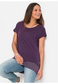 Fioletowa bluzka bonprix z krótkim rękawem, długa