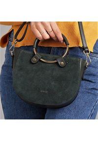 ROVICKY - Włoska torebka skórzana Rovicky TWR-67 zielona. Kolor: zielony. Wzór: gładki. Materiał: skórzane. Styl: klasyczny, elegancki