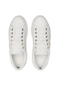 Białe sneakersy Aigner z cholewką, z aplikacjami, na co dzień