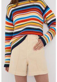 Victoria Victoria Beckham - Szorty jeansowe. Kolor: beżowy. Materiał: jeans. Wzór: gładki