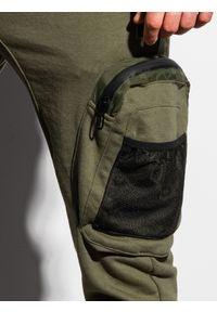 Ombre Clothing - Spodnie męskie dresowe joggery P918 - khaki - XXL. Kolor: brązowy. Materiał: dresówka
