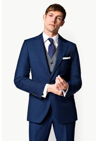 Lancerto - Marynarka Business Mix Navy. Okazja: na spotkanie biznesowe. Kolor: niebieski. Materiał: poliester, wiskoza, tkanina, wełna. Styl: biznesowy