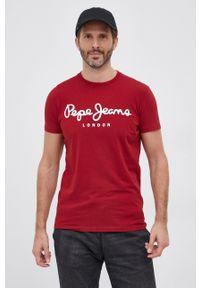 Pepe Jeans - T-shirt Orginal Stretch. Okazja: na co dzień. Kolor: czerwony. Materiał: dzianina. Wzór: nadruk. Styl: casual