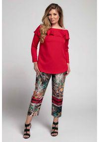 Czerwona bluzka z długim rękawem Nommo plus size