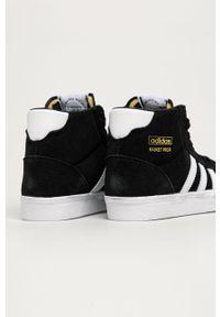 Czarne trampki adidas Originals z okrągłym noskiem, z cholewką