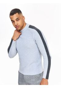 TOP SECRET - Sweter półgolf w prążki i z kontrastowymi rękawami. Kolor: szary. Materiał: prążkowany, dzianina. Wzór: prążki. Sezon: zima, jesień. Styl: elegancki