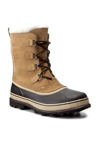 Brązowe buty zimowe sorel z cholewką, eleganckie
