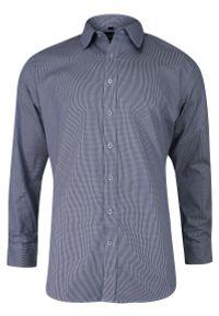 Niebieska elegancka koszula Chiao w kratkę, z długim rękawem
