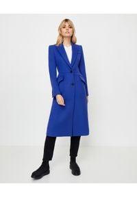 Alexander McQueen - ALEXANDER MCQUEEN - Niebieski płaszcz z wełny. Kolor: niebieski. Materiał: wełna. Styl: elegancki