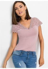 Shirt z koronką bonprix różowobrązowy. Kolor: różowy. Materiał: koronka. Wzór: koronka