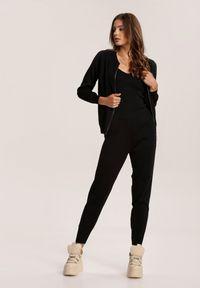 Renee - Czarny Komplet Dwuczęściowy Lynnryss. Kolor: czarny. Materiał: bawełna, wiskoza, dzianina. Wzór: jednolity, gładki, aplikacja