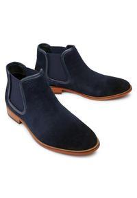 Niebieskie buty zimowe GOE eleganckie, z cholewką