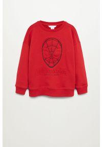Czerwona bluza Mango Kids casualowa, na co dzień, z aplikacjami