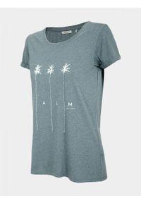 T-shirt outhorn melanż, z krótkim rękawem