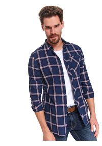 TOP SECRET - Koszula w kratę taliowana. Okazja: do pracy, na co dzień. Kolor: niebieski. Długość rękawa: długi rękaw. Długość: długie. Sezon: zima. Styl: klasyczny, casual