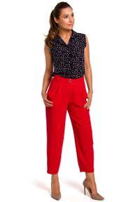 Czerwone spodnie z wysokim stanem MOE