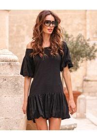 BY CABO - Czarna sukienka Taormina. Kolor: czarny. Materiał: len, wiskoza. Typ sukienki: bombki. Styl: wakacyjny. Długość: mini