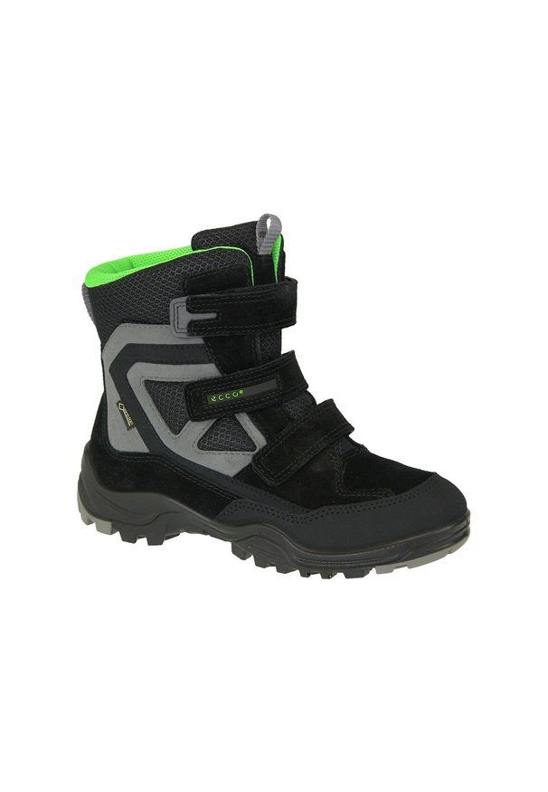 Czarne buty trekkingowe ecco na zimę, z cholewką, w kolorowe wzory