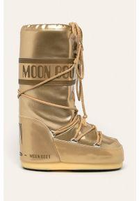 Złote śniegowce Moon Boot na sznurówki, z okrągłym noskiem, z cholewką, na obcasie