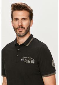 Czarna koszulka polo PRODUKT by Jack & Jones krótka, z nadrukiem, polo