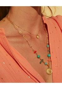 MOKOBELLE - Naszyjnik łańcuch z kamieniami naturalnymi i rozetą Solaris. Materiał: pozłacane. Kolor: złoty