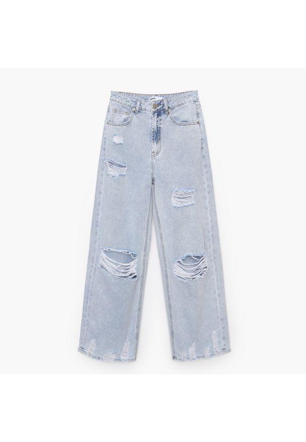 Cropp - Jeansy wide leg - Niebieski. Kolor: niebieski