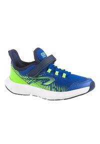 KALENJI - Buty do biegania dla dzieci Kalenji AT Flex Run na rzep. Zapięcie: rzepy. Kolor: niebieski, zielony, wielokolorowy. Materiał: kauczuk, mesh. Szerokość cholewki: normalna. Sport: bieganie