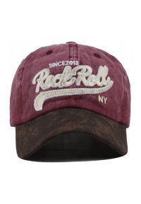 Czerwona czapka Pako Jeans z napisami, rockowa
