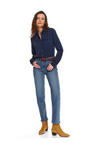 Niebieska koszula TOP SECRET z długim rękawem, długa, na wiosnę, elegancka