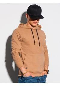 Ombre Clothing - Bluza męska z kapturem B1147 - jasnobrązowa - XXL. Typ kołnierza: kaptur. Kolor: brązowy. Materiał: bawełna