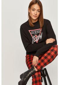 Czarna bluza Guess casualowa, z długim rękawem, z aplikacjami