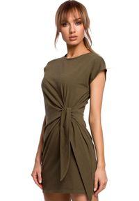 Sukienka MOE na lato, dopasowana, z krótkim rękawem, mini